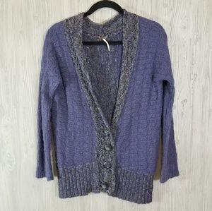 Free People Knit Boyfriend Cardigan Purple Size S